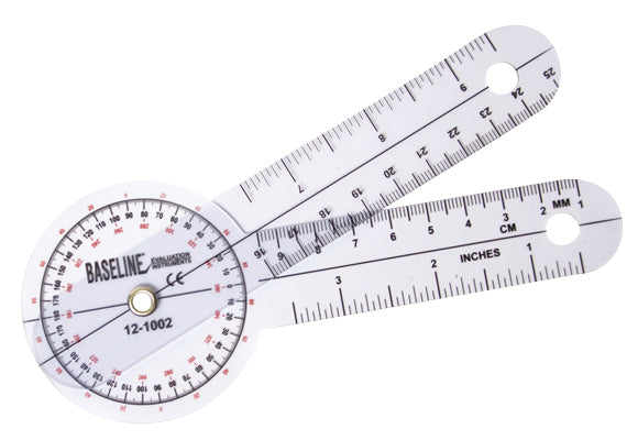 Baseline® Plastic Goniometer - 360 Degree Head - 6 inch Arms