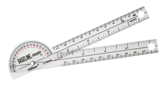 Baseline® Plastic Goniometer - Pocket Style - HiRes™ 180 Degree Head - 6 inch Arms