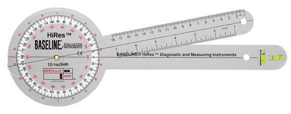 Baseline® Plastic Absolute+Axis® Goniometer - HiRes™ 360 Degree Head - 12 inch Arms