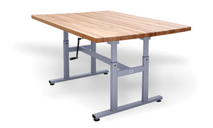 Deluxe Crank Butcher Block Work Tables