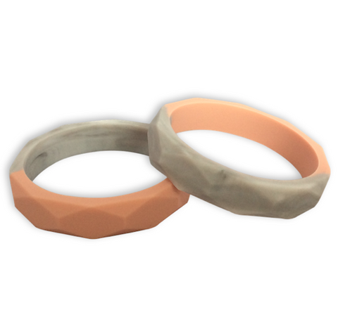 Amelia Nude Quartz + Marble Teething Bangle Teething Bangle- Mama + Belle