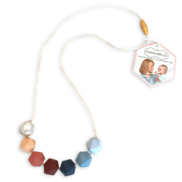 Ava Blue Bell + Blush Teething Necklace