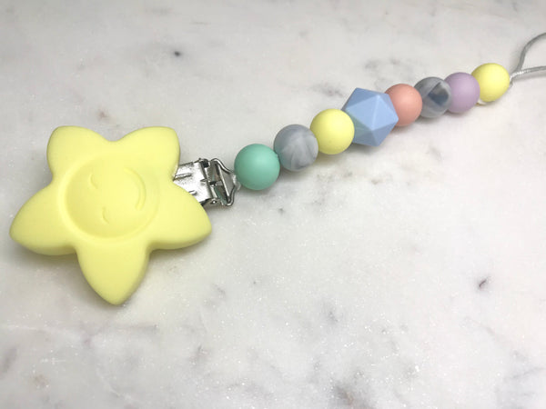 Dummy / Teething Clip Pastel + Marble Dummy/ Teether Clip- Mama + Belle