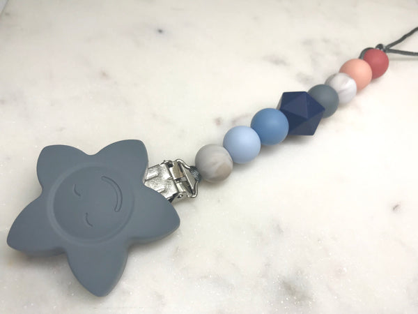 Dummy / Teething Clip Blue Bell + Blush Dummy/ Teether Clip- Mama + Belle