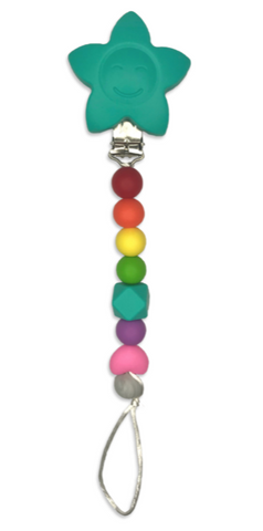 Dummy / Teething Clip Rainbow Dummy/ Teether Clip- Mama + Belle