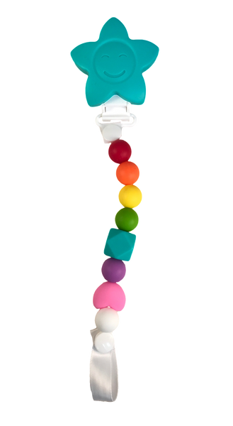 Dummy / Teething Clip Rainbow- previous style Dummy/ Teether Clip- Mama + Belle