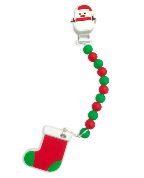 Christmas Dummy / Teething Clip WITH TEETHER Dummy/ Teether Clip- Mama + Belle
