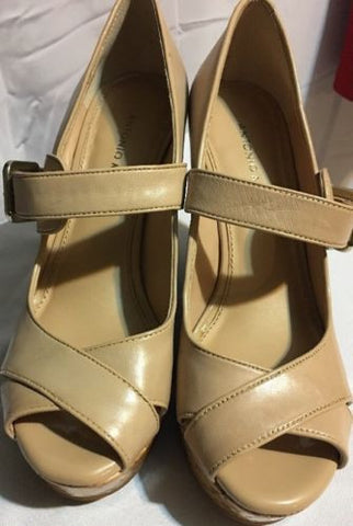 Antonio Melani Tan Peep-Toe Platform Pumps / Wedges Size 8.5M