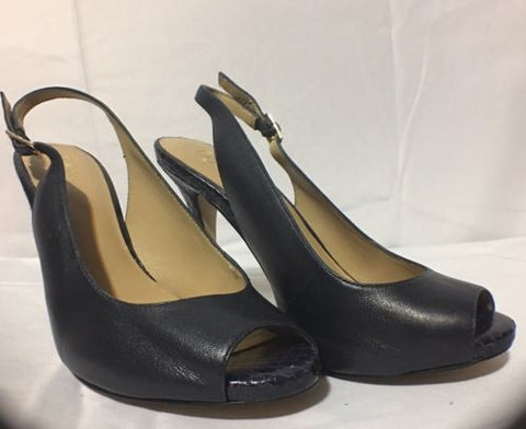 Ann Taylor Black Leather and Lizard Slingback Pumps Size 7M