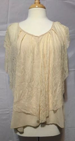 Bnb Cream Sheer Blouse Size L