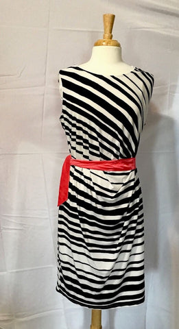 AGB Black with White Stripe Pink Tie Wrap Dress Size 1X