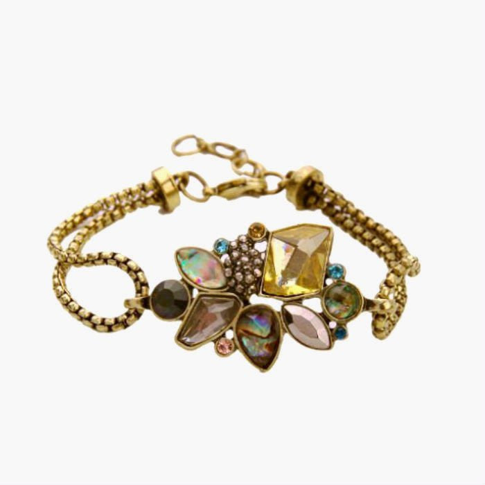 Antiqued Brass and Rhinestone Bracelet-AUDREY PAMELA