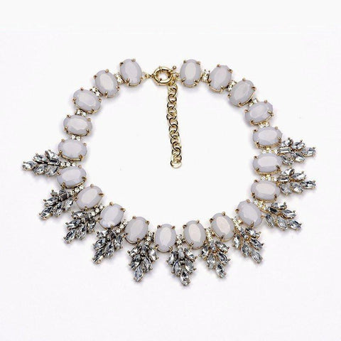 Vintage Leaves Statement Necklace (Gray)