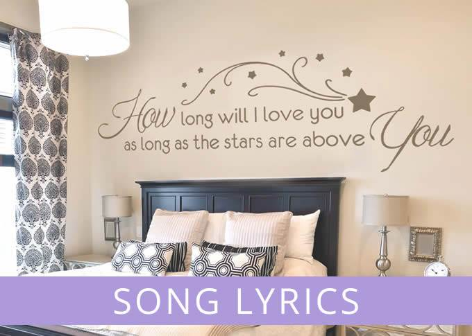 Song lyrics wall stickers