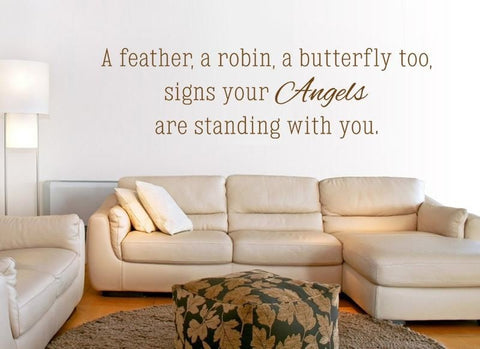 A Feather, A Robin Wall Sticker - Wall Chick