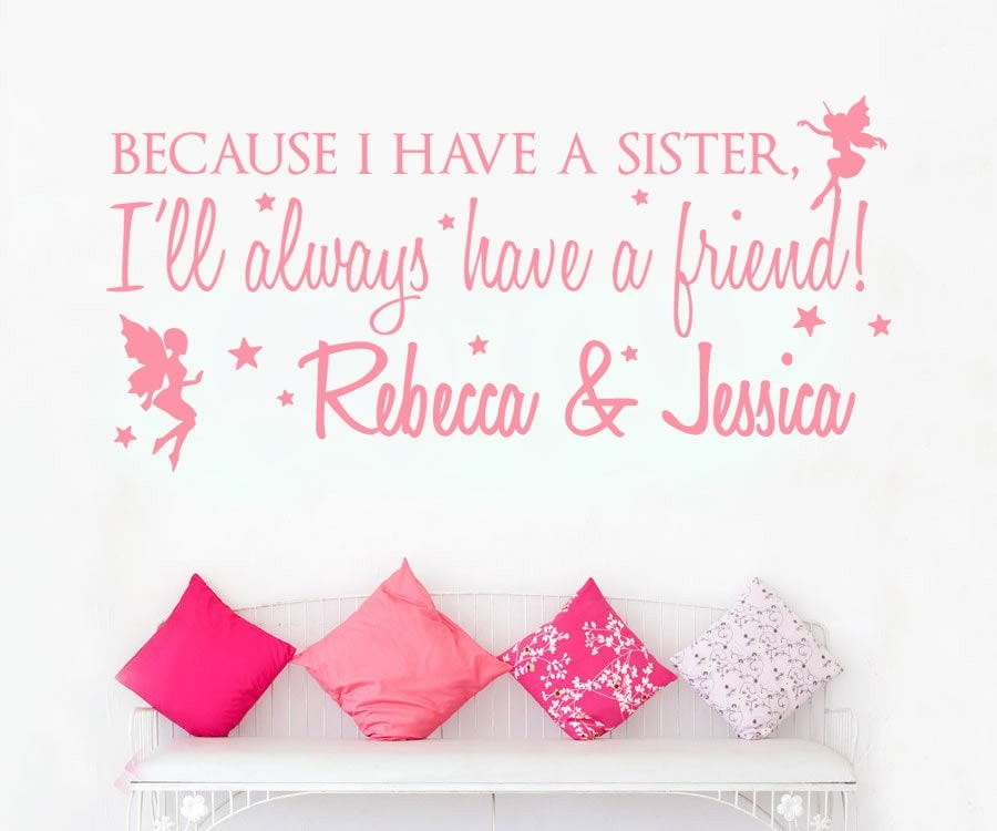 Because I Have a Sister Names Wall Sticker Wall Sticker - Wall Chick