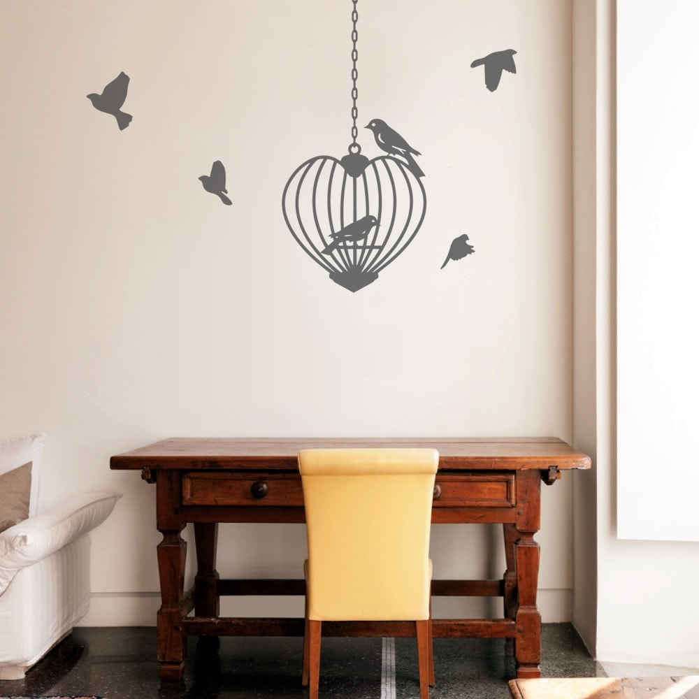 Birdcage Heart Wall Sticker - Wall Chick