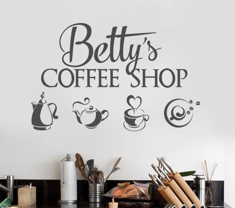 Coffee Shop With Name Wall Sticker - Wall Chick