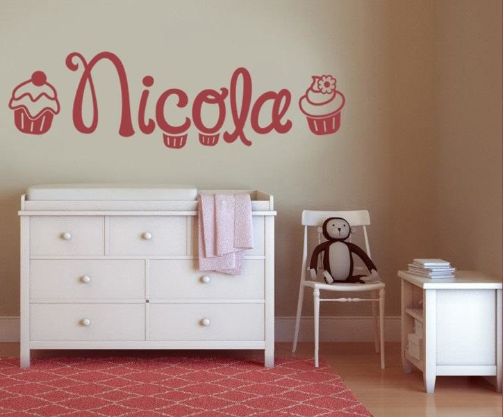 Cupcakes With Name Wall Sticker Wall Sticker - Wall Chick