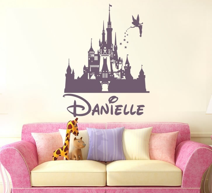 Disney Fairy Castle With Name Wall Sticker   Wall Chick