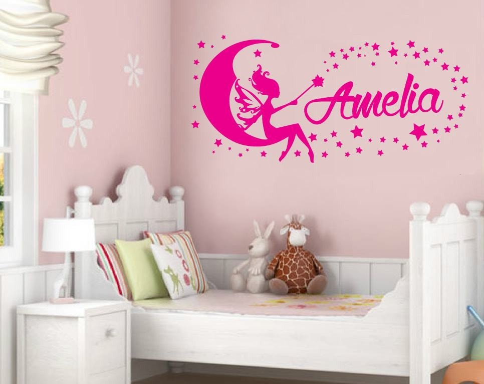 Moon Fairy With Name Wall Sticker - Wall Chick