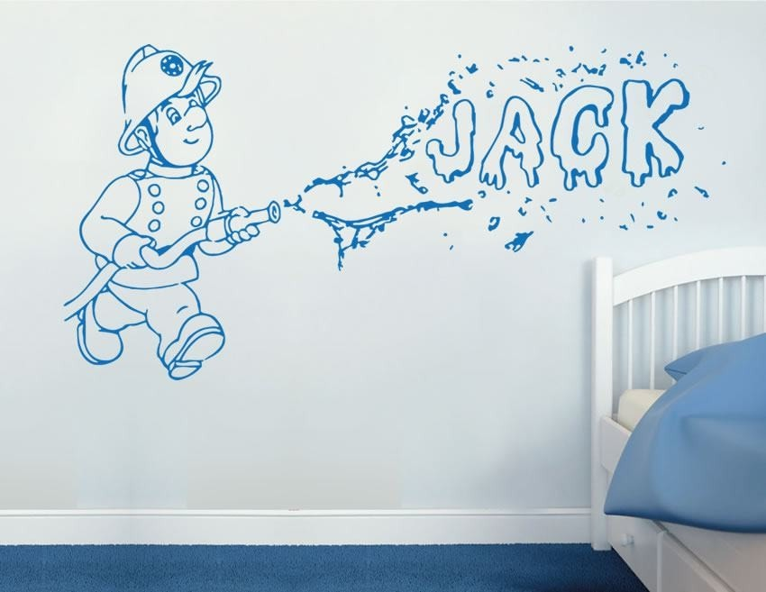Fireman with Name Wall Sticker - Wall Chick