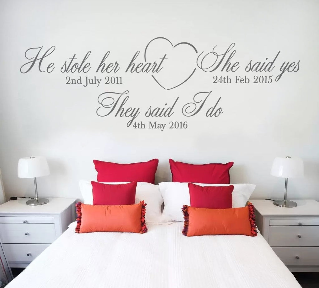 He Stole Her Heart Wall Sticker Wall Sticker - Wall Chick