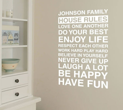 House Rules with Name Wall Sticker - Wall Chick
