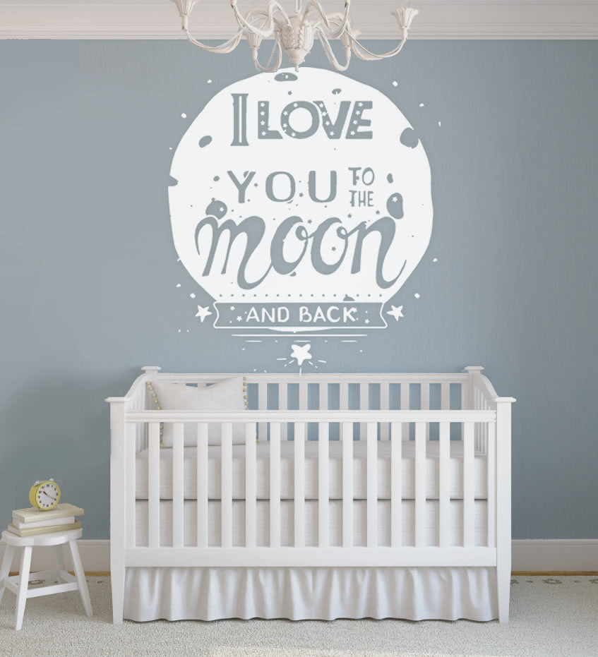 I Love You Moon and Back Wall Sticker