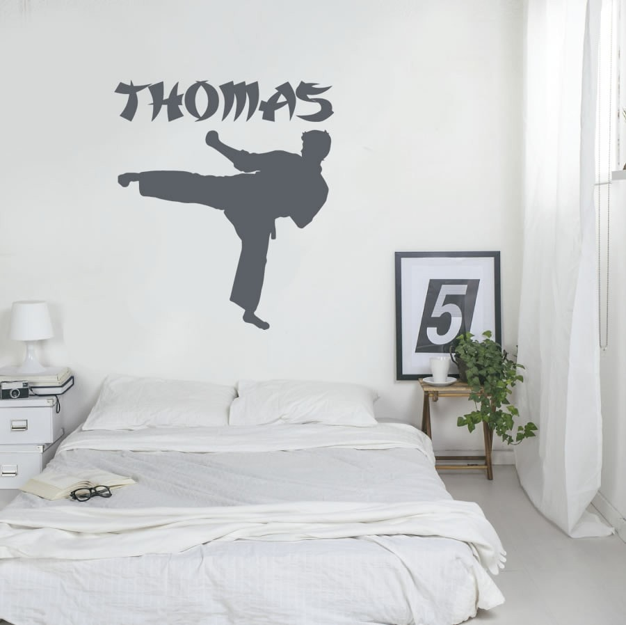 Karate Kick with Name Wall Sticker - Wall Chick