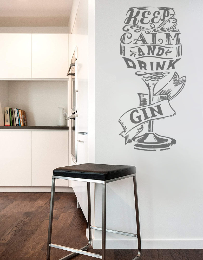 Keep Calm and Drink Gin Glass Wall Sticker Decal Art