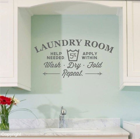 Laundry Room - Help Needed Wall Sticker - Wall Chick