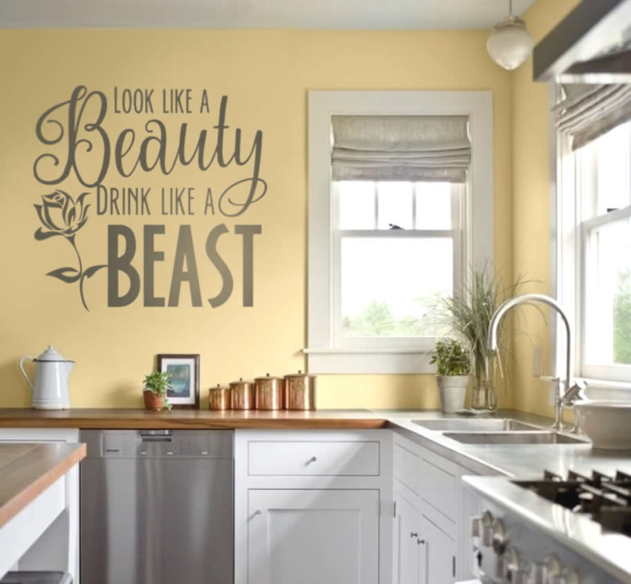 Look Like a Beauty Drink Like a Beast Wall Sticker