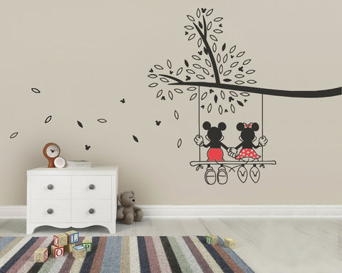 Lovely Mickey And Minnie Tree Wall Sticker   Wall Chick ...