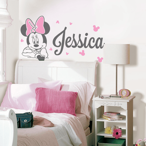 Minnie Leaning With Name Wall Sticker   Wall Chick