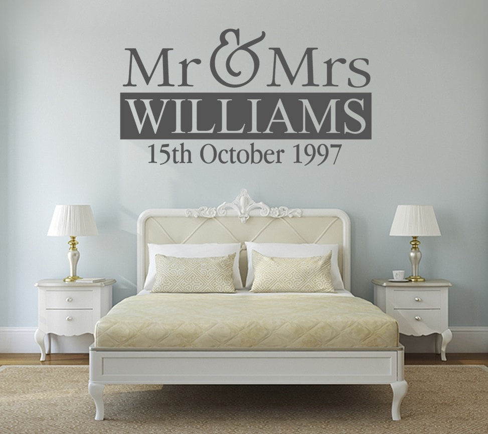 Mr & Mrs With Date Wall Sticker - Wall Chick