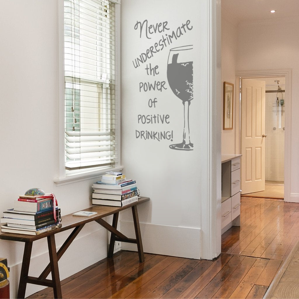 Never Underestimate The Power Of Positive Drinking Wall Sticker