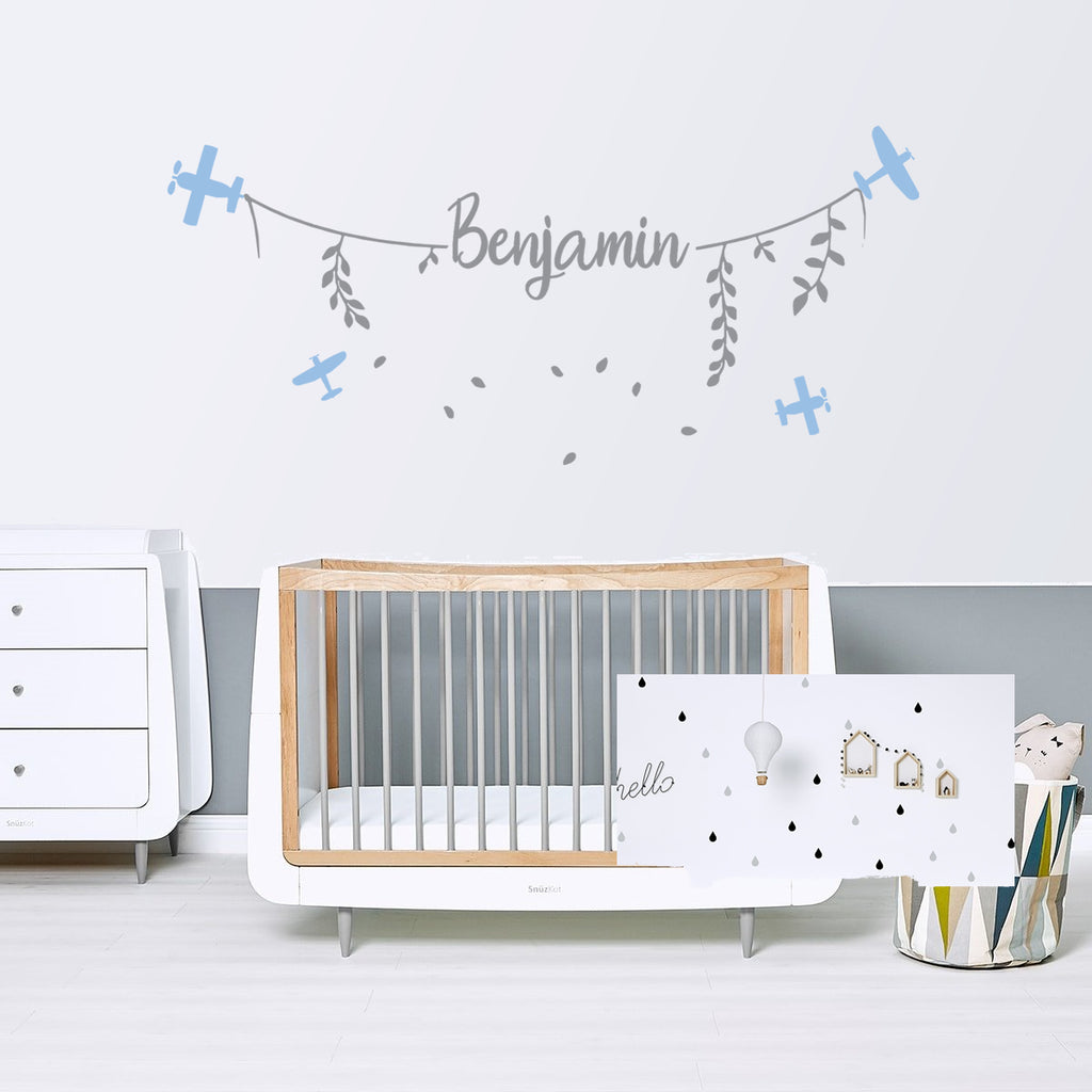 Plane Line With Name Boys Nursery Wall Sticker