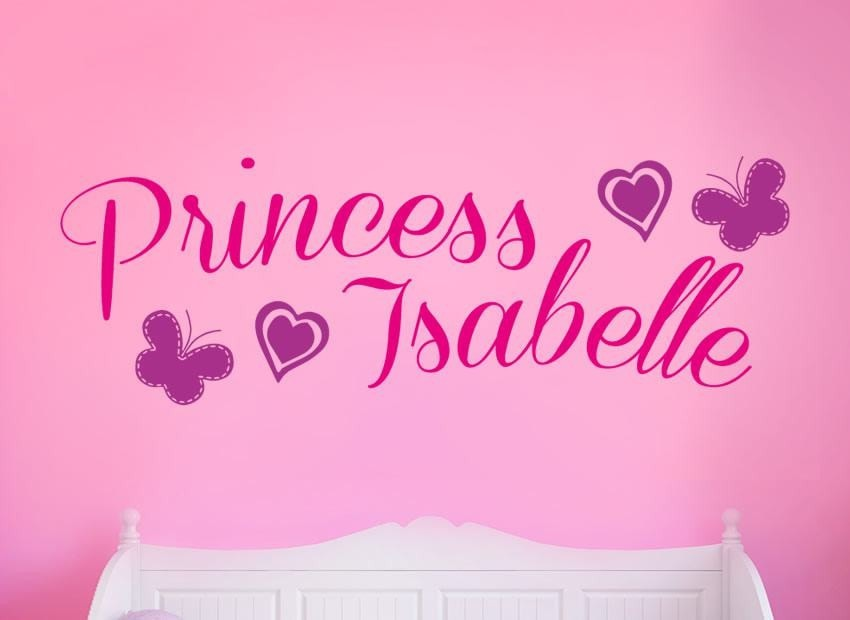 Princess + Heart & Butterfly Wall Sticker - Wall Chick