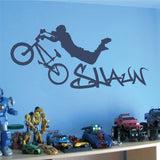 BMX With Graffiti Name Wall Sticker - Wall Chick