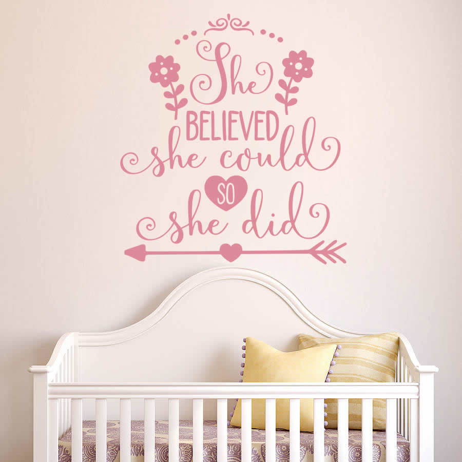 She Believed She Could Tall Wall Sticker