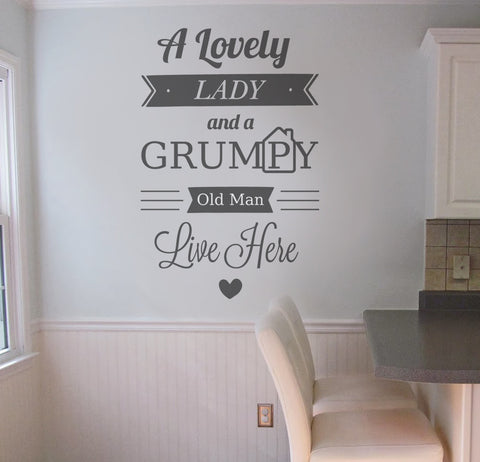 A lovely lady and a grumpy old man wall sticker