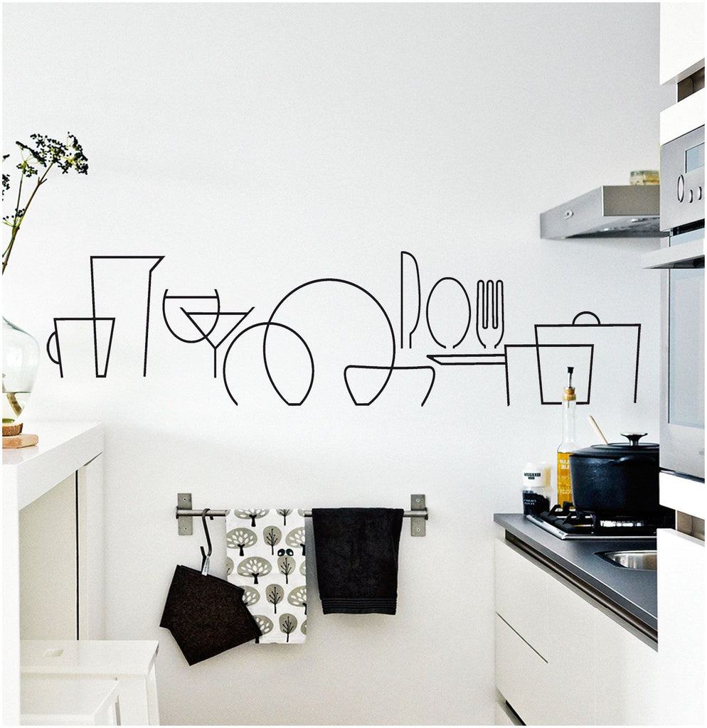 Abstract Kitchen Item Lines Wall Sticker
