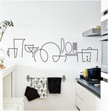 Abstract Kitchen Item Lines Wall Sticker 2ft Wide Purple Clearance