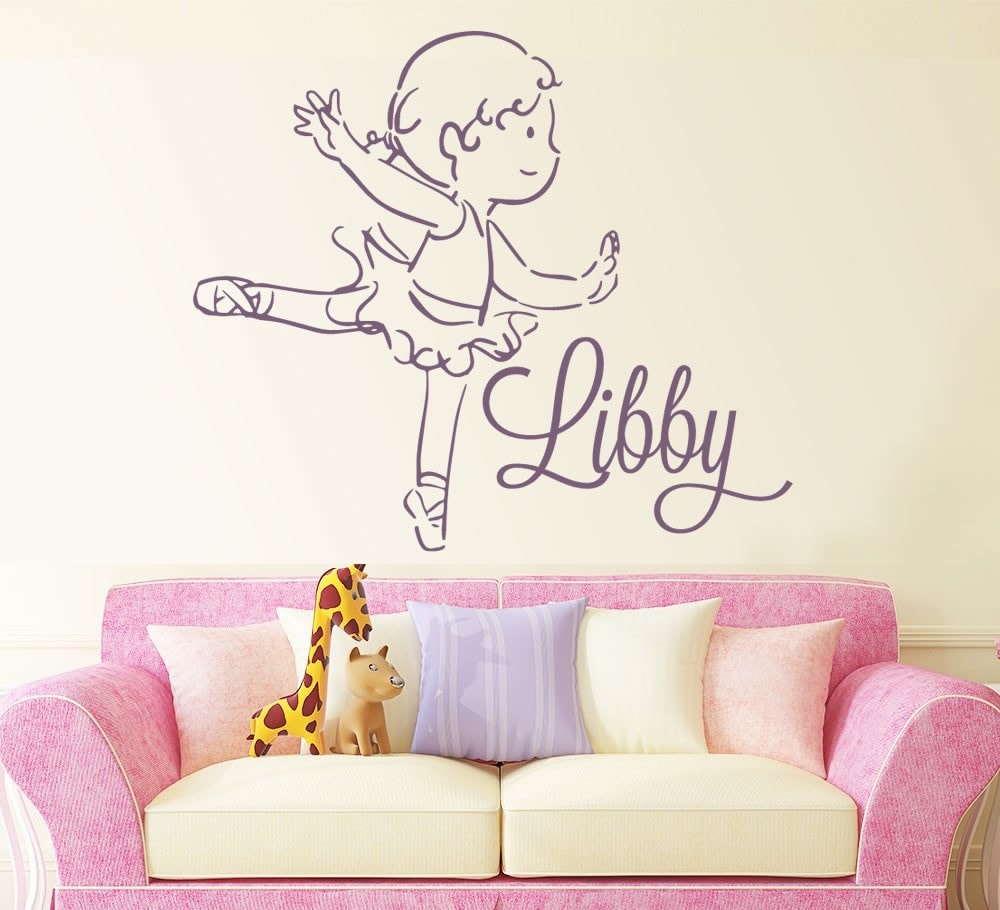Ballerina With Name Wall Sticker Wall Sticker - Wall Chick
