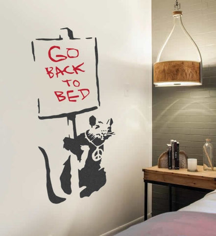 Banksy - Rat Go Back to Bed Wall Sticker Wall Sticker - Wall Chick