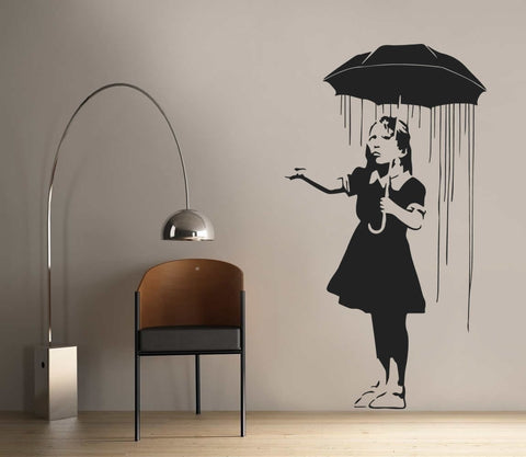 Banksy - Umbrella Wall Sticker Wall Sticker - Wall Chick