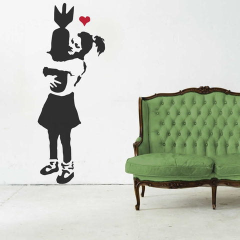 Banksy - Girl with Bomb Wall Sticker Wall Sticker - Wall Chick