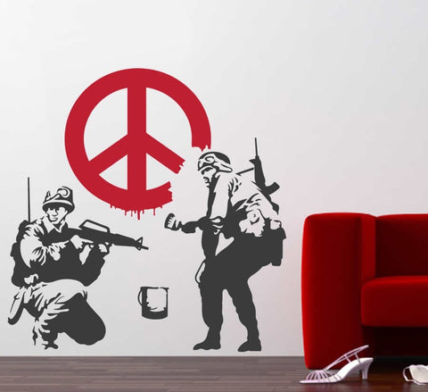 Banksy - Peace Soldiers Wall Sticker - Wall Chick