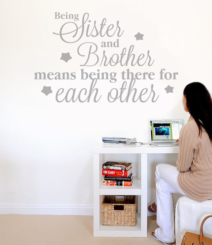 Being Sister & Brother Wall Sticker 4ft Wide BLACK Clearance